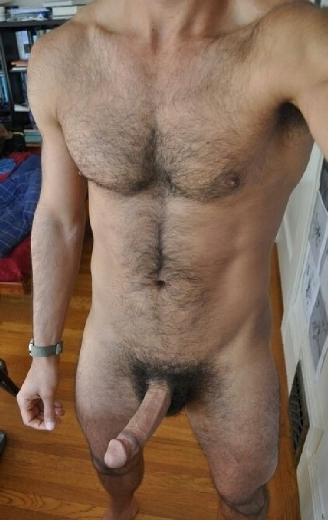 Nude Hairy Man With A Hard Hairy Cock - Nude Gay Man